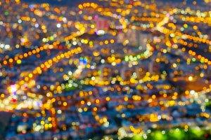 Urban city lens blur background