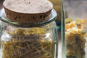 Dried pasta in jars