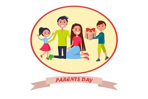 Banner Dedicated to Parents' Day Depicting Family