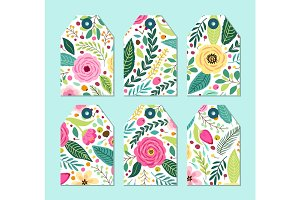 Cute gift tags set with rustic hand drawn spring floral patterns