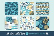 6 sea seamless patterns