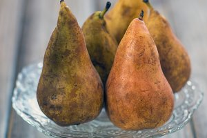 five ripe pears