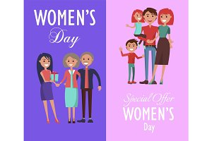 Set Posters Dedicated to Women's Day Celebration