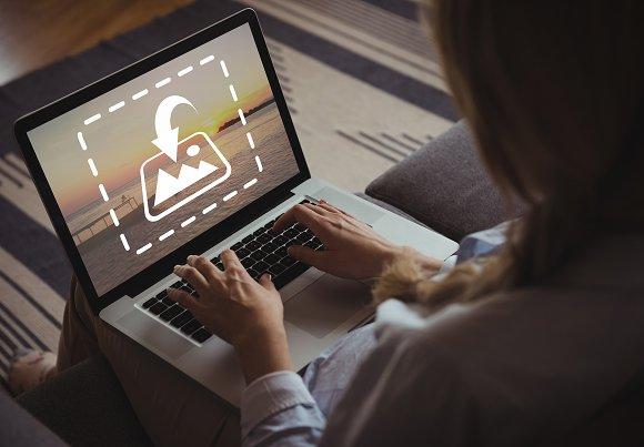 Woman Sitting Using Laptop Mockup
