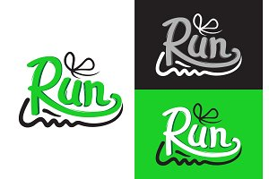 Running Shoe Symbols on Different Background.