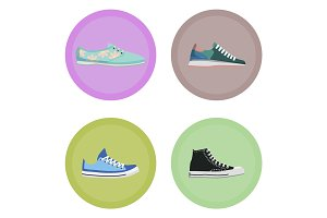 Various Modern Sneakers Flat Vector Icons Set