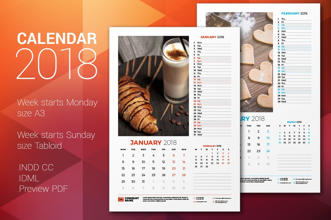 Art Calendar Business Magazine : Wall calendar stationery templates creative market