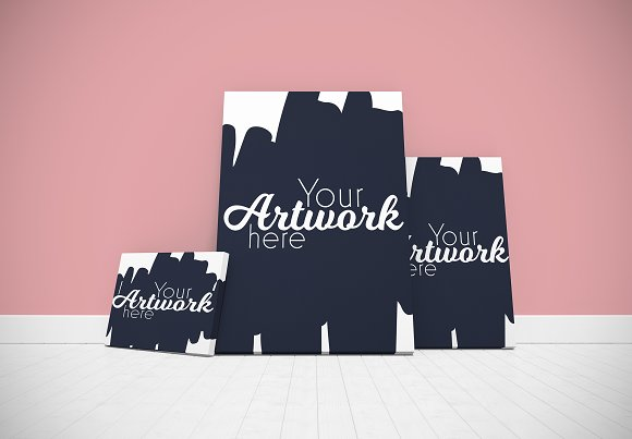 Three Canvases In Blank Room Mockup