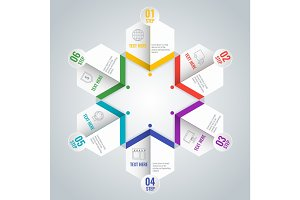 Business infographic scheme with six steps in star shape