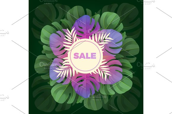 Sale Text In White Circle On Background Of Leaves In Realistic Design