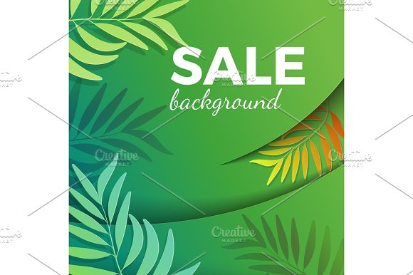 Sale background with green leaves in realistic design