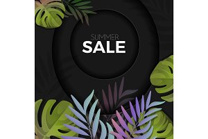 Summer sale background with exotic colorful leaves
