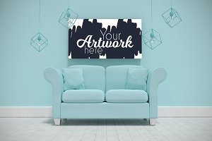 Canvas Hanging Over Sofa Mockup