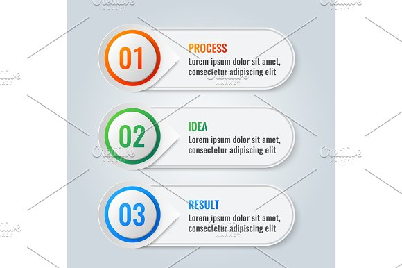 Infographic scheme with three main steps process, idea and result in Illustrations