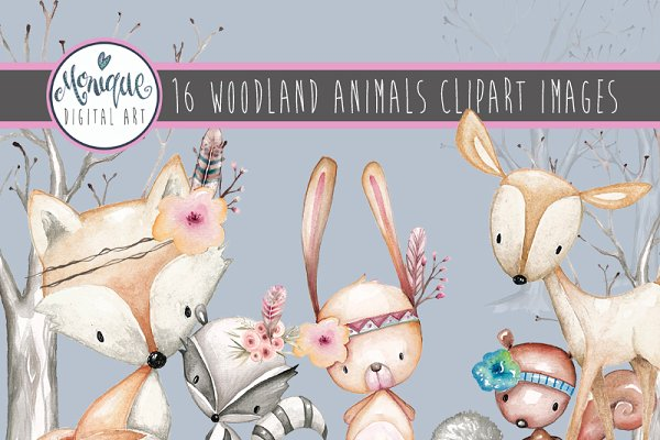 Woodland Animals Clipart Watercolor