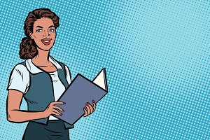 Female Secretary, African American, pop art illustration