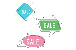 Simple sale speech bubbles with geometric signs vector illustration