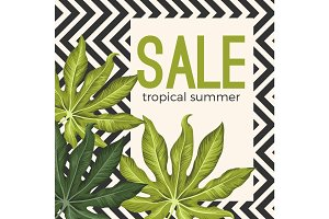 Sale tropical summer poster with jungle leaves on white square