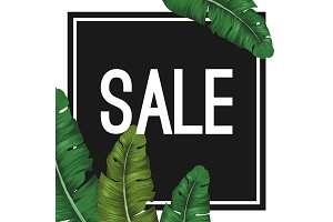Sale tropical summer poster with jungle leaves in black square