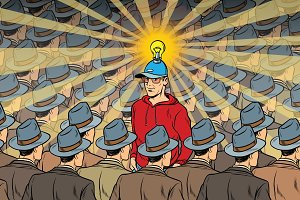idea man in dull crowd