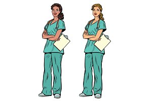 African American and Caucasian nurse with stethoscope