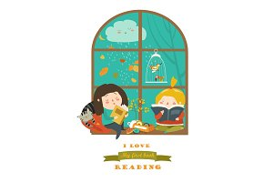 Cute girls reading book by the window
