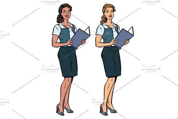 Two Women Secretary-full-length Multi-ethnic Group