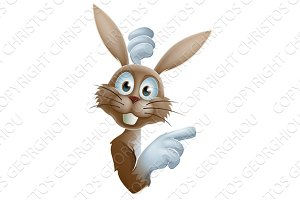 Cartoon Easter rabbit pointing
