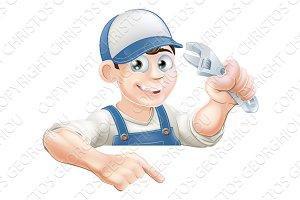 Cartoon plumber peeking over sign