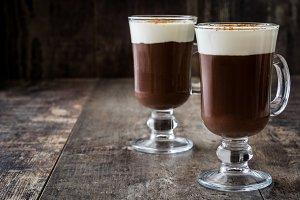 Irish coffee in glass