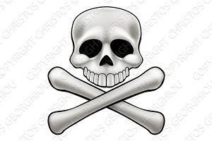 Cartoon Skull and Crossbones Jolly Roger