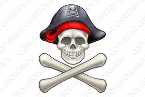 Cartoon Skull and Crossbones Pirate