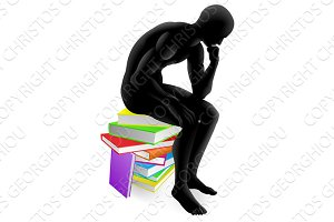 Thinker thinking sitting on books