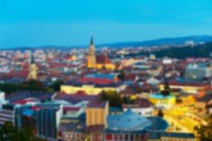 Blurred Cluj-Napoka cityscape