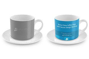 Coffee Cup With Saucer Design Mockup