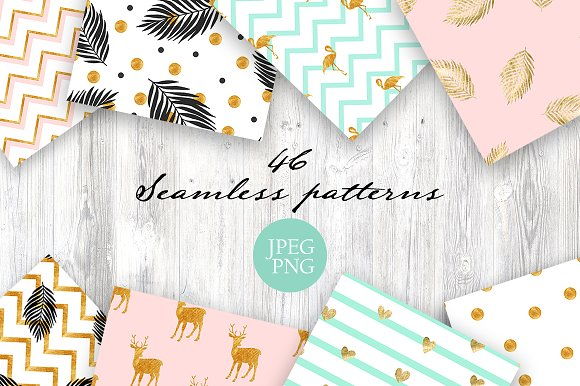 Gold Collection Seamless Patterns