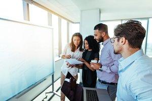 Entrepreneurs discussing business