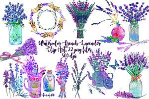Watercolor French Lavender ClipArt