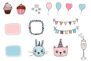 Cute happy birthday clip art set