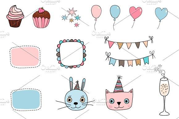 Cute Happy Birthday Clip Art Set