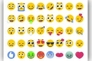 Vector Emoji Bundle Isolated Icons