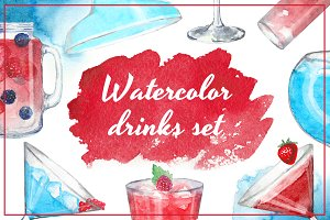 Watercolor drinks set