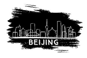 Beijing Skyline Silhouette.