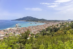Top view of the city and harbor Zakynthos, Greece