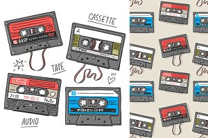 "Pattern and set ""Cassette tapes"""