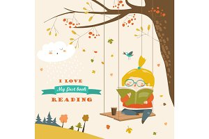Cute girl swinging and reading a book in autumn park