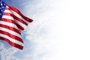 USA flag with blue sky