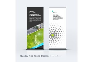 Abstract business vector set of modern roll Up Banner stand design template with colourful diagonal triangular shapes