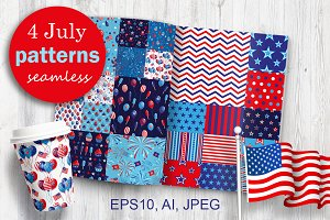4th of July seamless patterns