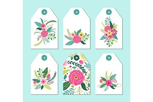 Cute gift tags set with rustic hand drawn spring flowers